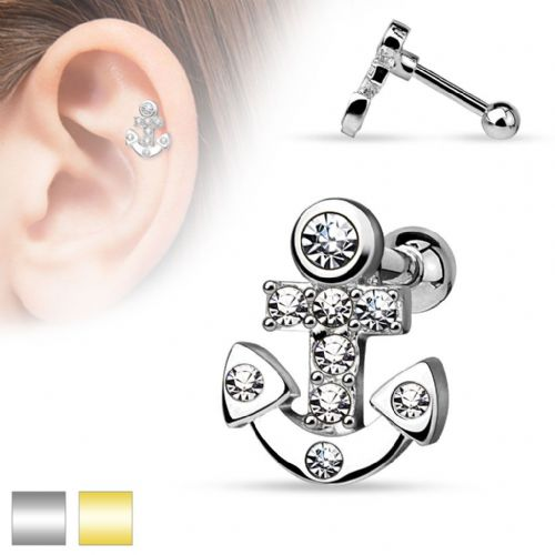 Cartilage Bar with Gem Set Anchor